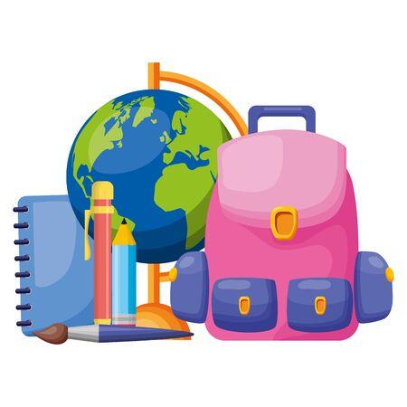 backpack world map book pencil brush back to school vector illustration Illusztráció