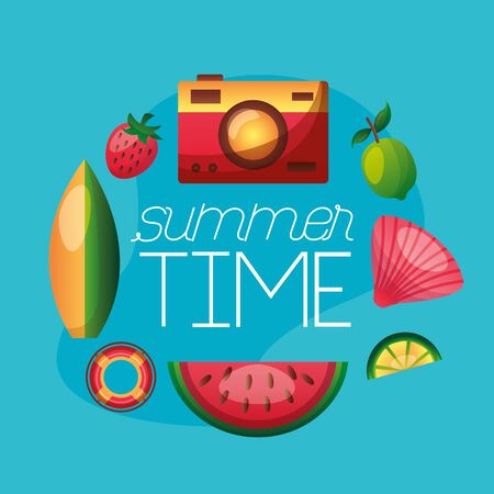 summer time holiday banner camera fruits tropical lifebuoy surfboard vector illustration