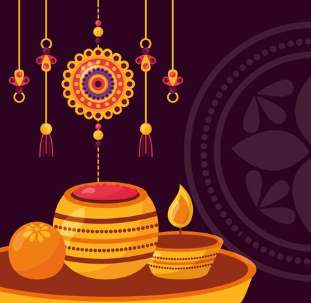 ornaments candles raksha bandhan vector illustration