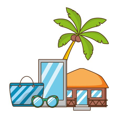 vacations mobile bag bungalow sunglasses vector illustration