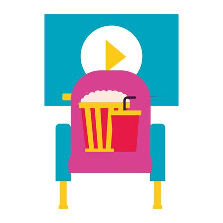 cinema movie seat pop corn soda screen vector illustration Illustration