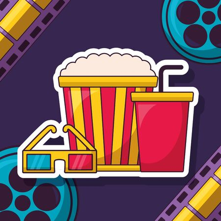 pop corn soda 3d glasses reel cinema movie vector illustration