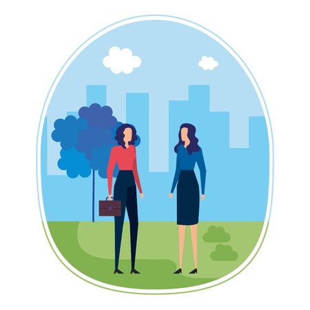 elegant young businesswomen on the city vector illustration design