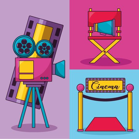 cinema movie projector chair speaker carpet vector illustration