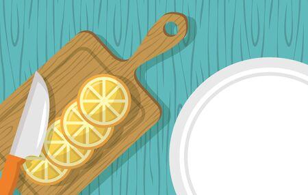 knife sweet oranges plate delicious vector illustration Stock Illustratie