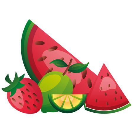 tropical fruits watermelon lemon coconut vector illustration Banque d'images - 130448034