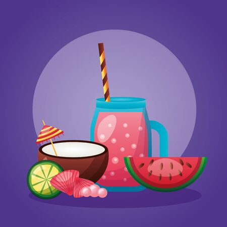 summer time holiday juice coconut watermelon lime vector illustration Banque d'images - 130448043