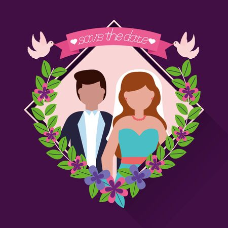 couple wedding flowers pigeons love vector illustration