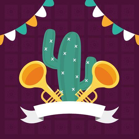 cactus and trumpets celebration viva mexico vector illustration