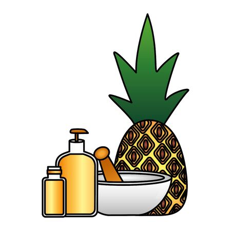 spa pineapple bottle lotion gel vector illustration