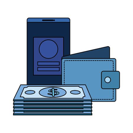 bills money dollars with wallet and smartphone vector illustration design