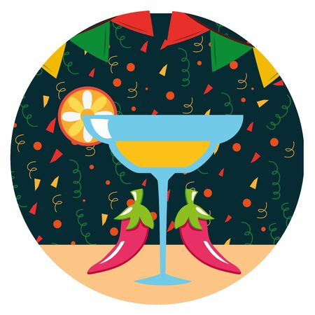 margarita cocktail mexican drink and chilli peppers vector illustration design
