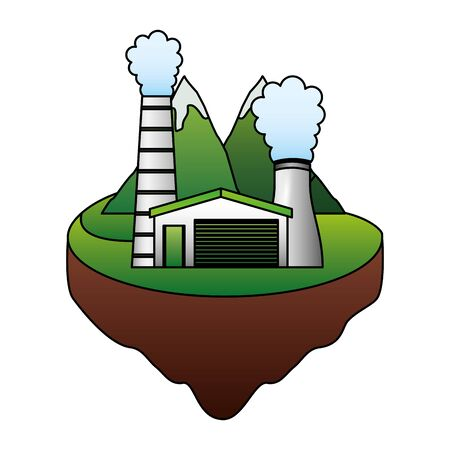 eco friendly nuclear station sustainable development vector illustration