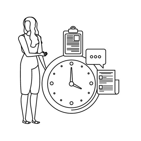 young woman with time clock character vector illustration design