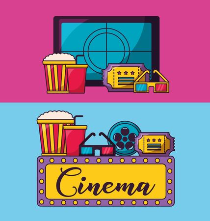 screen countdown pop corn ticket glasses cinema movie vector illustration Illustration