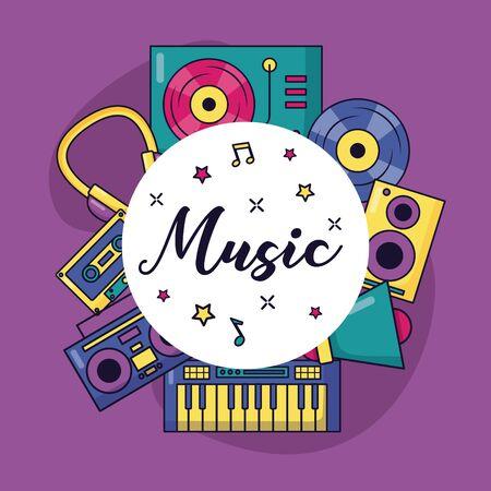 sintetizador, tocadiscos, cassette, auriculares, altavoz, bandera, música, vector, ilustración