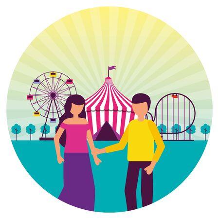 people festival fun fair event amusement park vector illustration