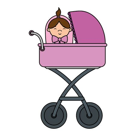 cart little girl baby character vector illustration design