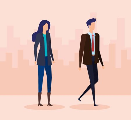 executive businesswoman and businessman with elegant suit to office success, vector illustration Illustration