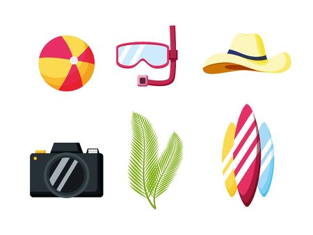 summer time holiday snorkel camera surfboards ball hat vector illustration Illusztráció