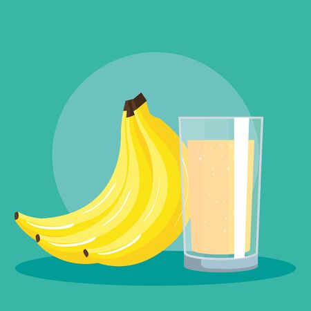 fresh banana fruit and juice nutrition to healthy food vector illustration Ilustração