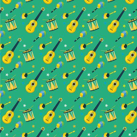 background musical guitar drum maracas brazil carnival festival vector illustration