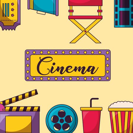 signboard clapboard reel soda pop corn speaker frame cinema movie vector illustration Illustration