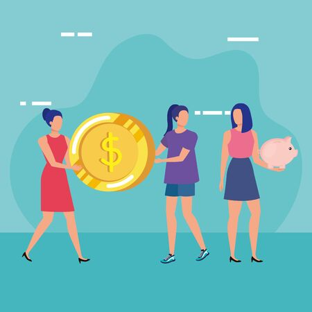 young women with coins dollars characters vector illustration design