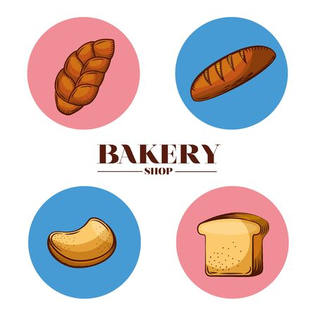 Bread baguette and toast design, Bakery food shop traditional quality style and breakfast theme Vector illustration