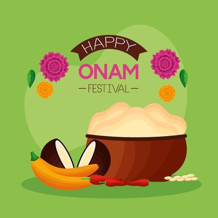 flowers coconuts fruits happy onam festival vector illustration
