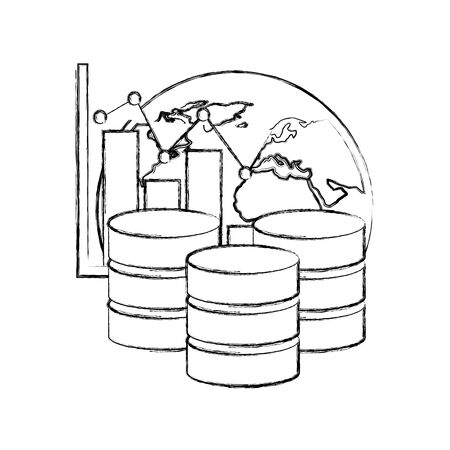 data center disks with statistical graphical and planet earth vector illustration design Stock fotó - 130486209
