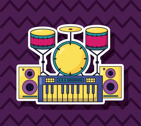 synthesizer drums speakers music colorful background vector illustration
