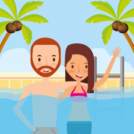 summer time holiday couple in the pool vector illustration