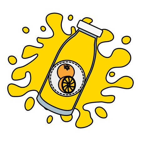 splash juice bottle orange tropical fruits design vector illustration Illustration