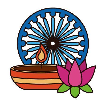 indian lotus flower with candle and ashoka chakra vector illustration design