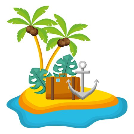 summer time holiday suitcase anchor palms beach leaves vector illustration