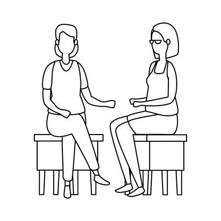 elegant businesswomen seated in benchs vector illustration design Ilustrace