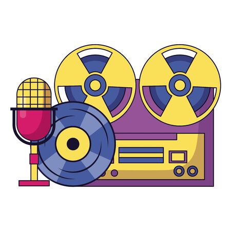 reel tape recorder microphone vinyl equipment festival music vector illustration Foto de archivo - 130486282