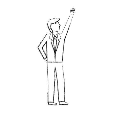 businessman with hand up avatar character vector illustration design Illustration