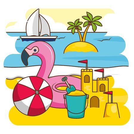 summer time holiday flamingo float sandcastle ball bucket sailboat vector illustration