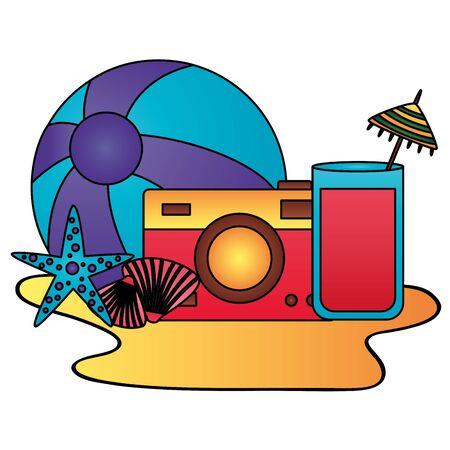 summer time holiday camera beachball cocktail starfish vector illustration