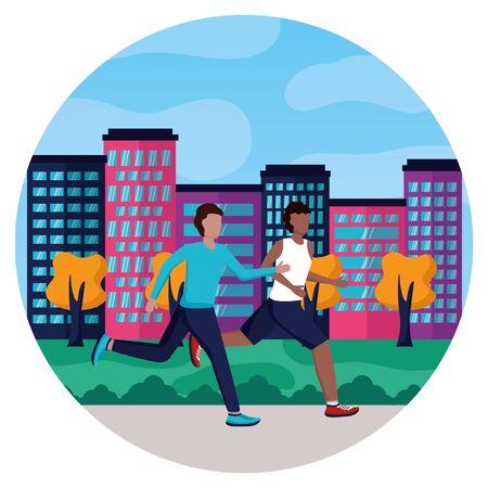 two men practicing running activity in the park vector illustration Stock Illustratie