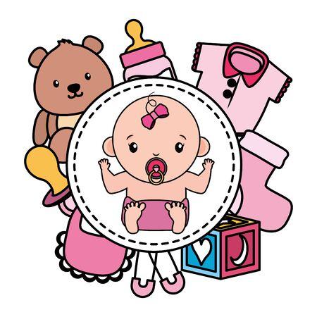 cute little baby girl with toys frame vector illustration design Çizim