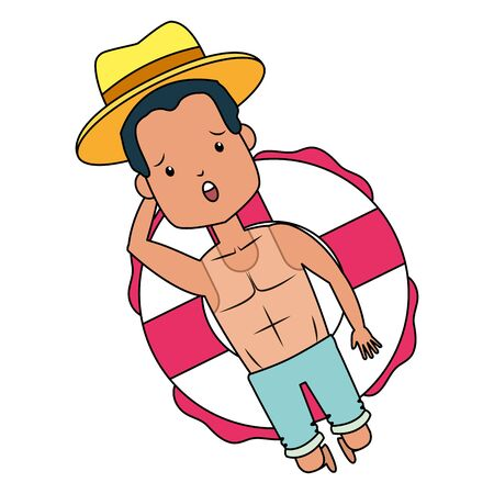 summer time holiday man with hat floating in the lifebuoy vector illustration