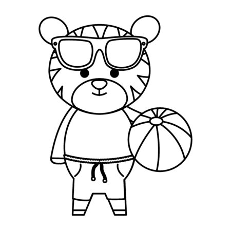 cute tiger with sunglasses and balloon plastic toy vector illustration design