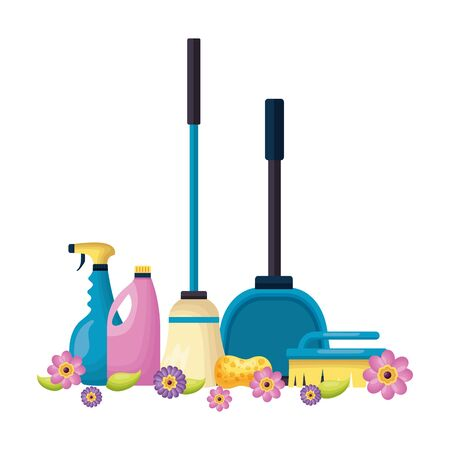 broom brush spray disinfectant spring cleaning tools vector illustration 일러스트