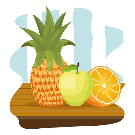 pineapple orange apple tropical fruits table vector illustration