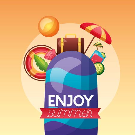 summer time holiday surfboard suitcase lifebuoy cocktail sun vector illustration