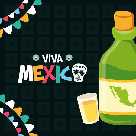bottle tequila and shot celebration viva mexico vector illustration Ilustração