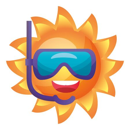 summer time holiday sun character with snorkel mask vector illustration Banque d'images - 130486483